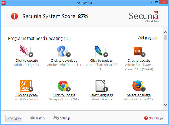 Secunia security patches