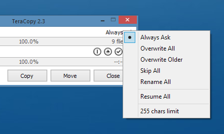 Copy files faster and more reliably in Windows with TeraCopy