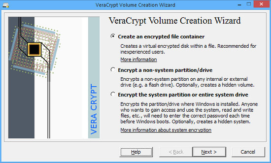 VeraCrypt volume creation