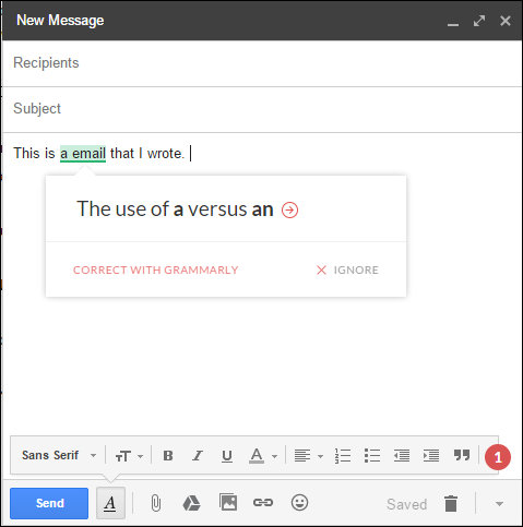 Grammarly Chrome extension