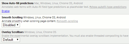 Disable or enable smooth scrolling in Chrome flags to solve browser problems