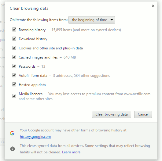 Clear Chrome browsing data to fix problems or hide your tracks