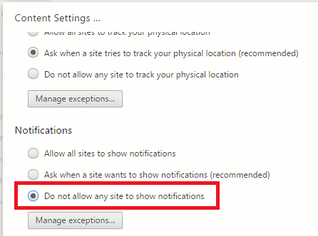 Disable website notifications in Chrome content settings