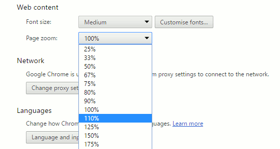 Set the default page zoom level in Chrome settings