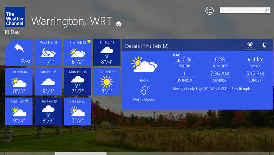 Weather Channel app for Windows 8