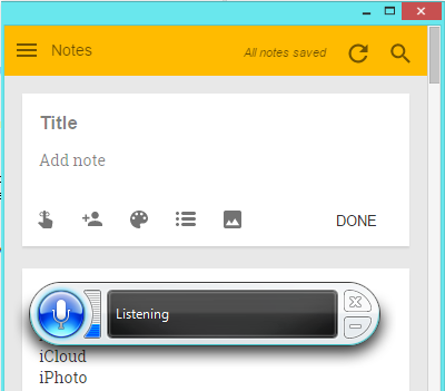 Windows Speech Recognition with Google Keep