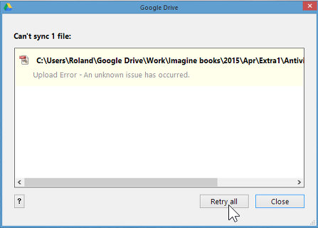 Google Drive sync problems