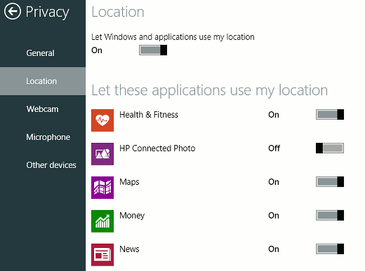 Windows privacy settings