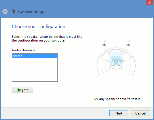 Select the speaker setup