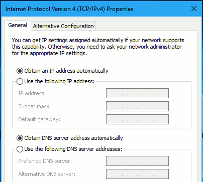 Set Windows to get a DNS address automatically