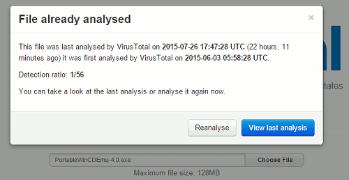 Scan files with VirusTotal