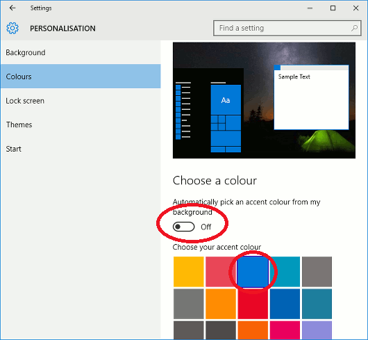 Windows 10 colour scheme