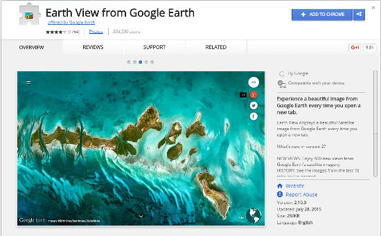 Google Earth View Chrome extension