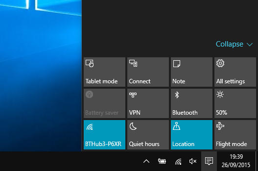 Action Centre in Windows 10