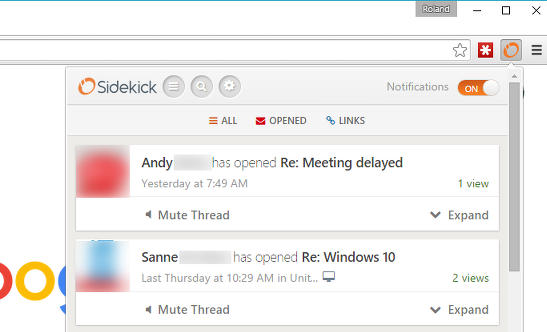 Sidekick Gmail notifications