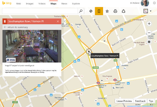 View traffic cameras in Bing maps and see streetside view