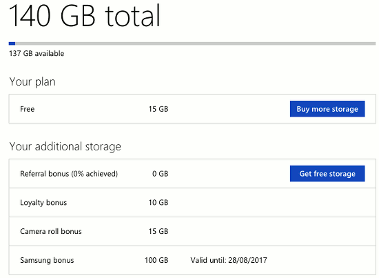 OneDrive storage plan