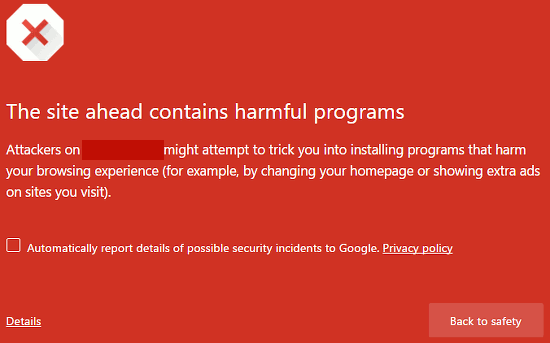 Chrome warning