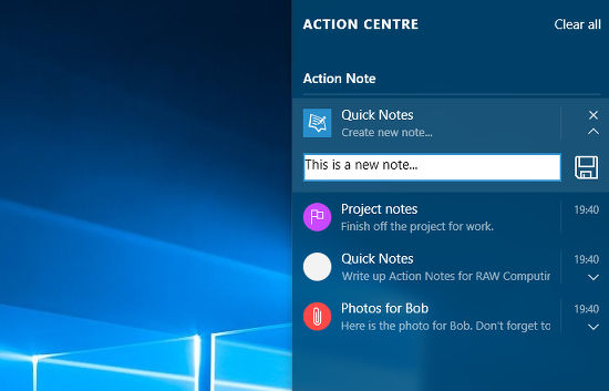 Action Note app for Windows 10