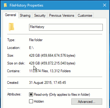 Folder properties in Windows