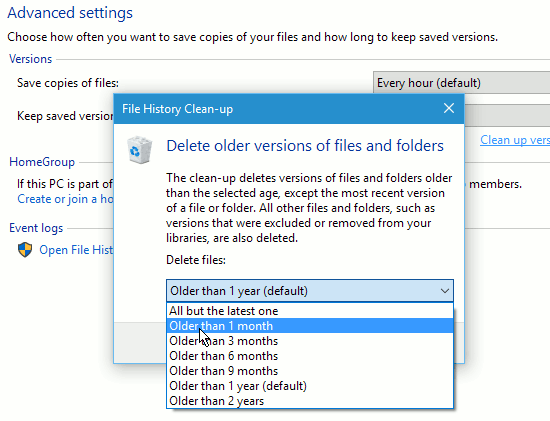 Get more disk space by cleaning up Windows File History