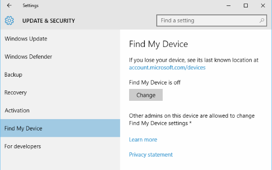 Windows 10 Find My Device