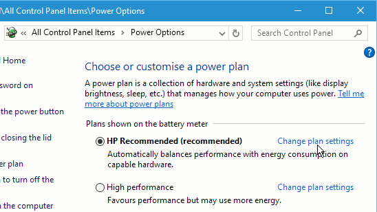 Windows power plans