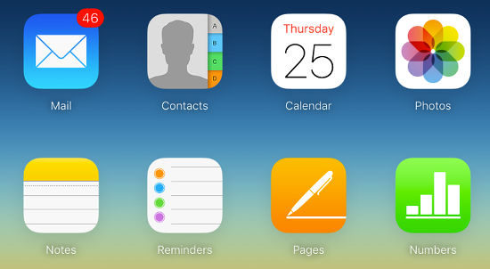 iCloud application icons
