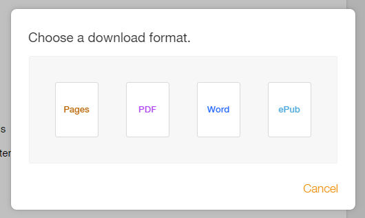 Export files from Pages at iCloud