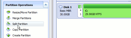 Partition the disk