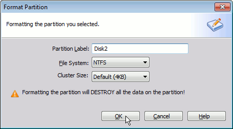 Format a disk partition