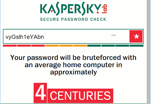 Kaspersky password tester