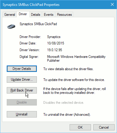 Device Manager roll back driver