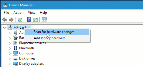 Scan for hardware changes in Device Manager