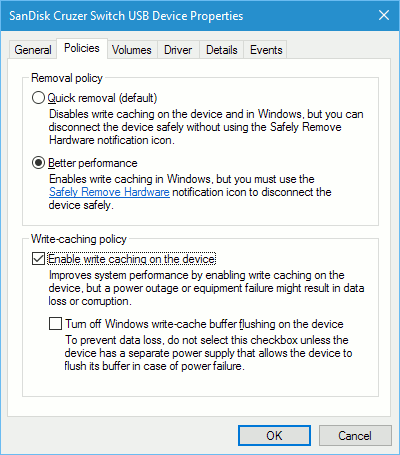 Write caching options in Windows
