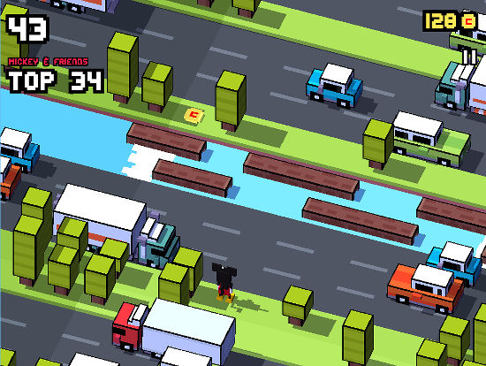 Help Mickey to cross the busy road in this scene from Disney Crossy Road