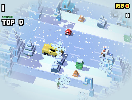 From desert head to icy coldness, this is another scene from Disney Crossy Road