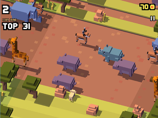 Watch out for the elephants and giraffes as you try to get from one side to the other in Disney Crossy Road