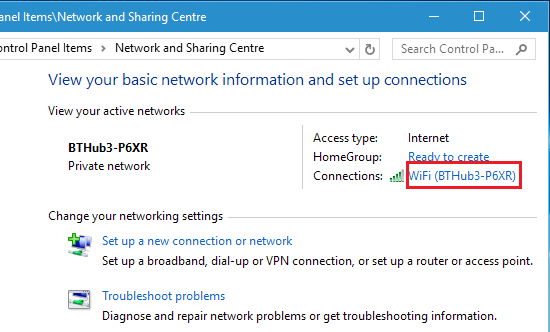Network and Sharing Centre in Windows 10