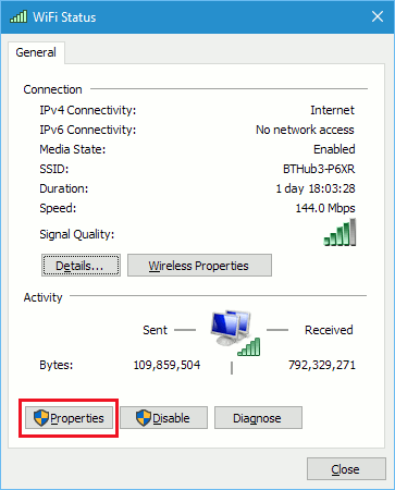 The WiFi Status window in Windows 10 shows network information