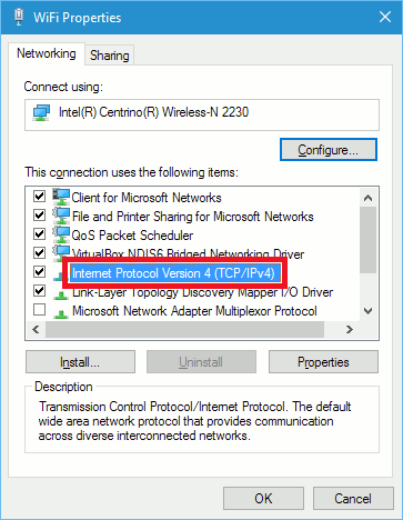 The WiFi Properties window in Windows 10 shows the protocols used