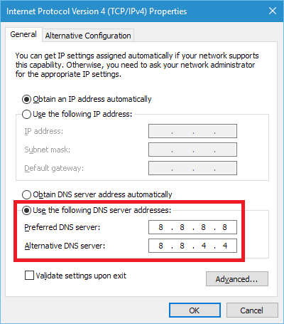 Enter the DNS server addresses into the Internet Protocol Version 4 window in WIndows