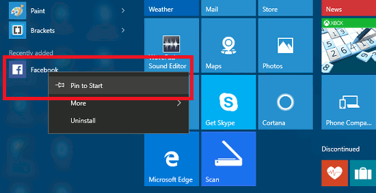 Pin tiles to the Windows 10 Start menu
