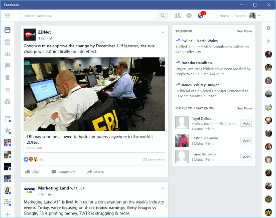 The Facebook app for Windows 10
