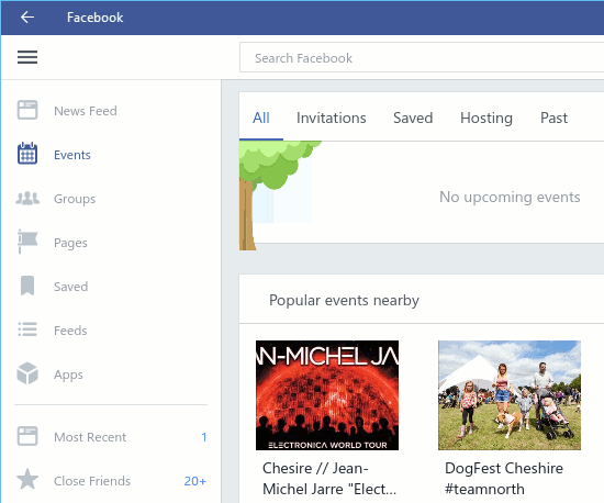 Facebook for Windows 10 is simpler and cleaner
