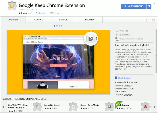 Get the Google Keep extension for Chrome from the Chrome Web Store