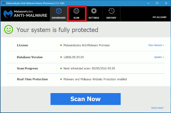 The home screen of Malwarebytes Anti-Malware