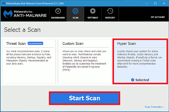 Choose a Hyper Scan in Malwarebytes Anti-Malware for a quicker scan