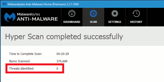 The scan results from Malwarebytes Anti-alware