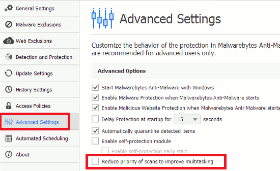 Configure the advanced options in Malwarebytes Anti-Malware